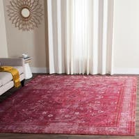 Safavieh Valencia Red/ Multi Overdyed Distressed Silky Polyester Rug - 9' x 12'