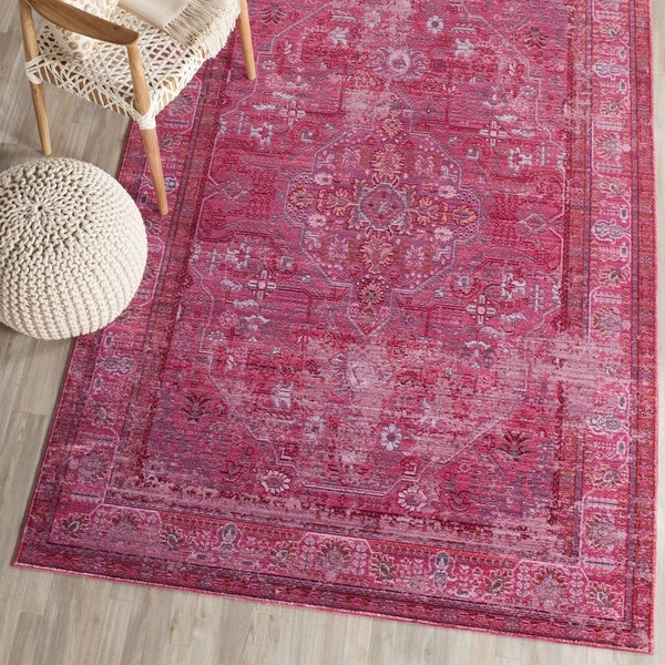 Safavieh Valencia Red/ Multi Overdyed Distressed Silky Polyester Rug (9' x 12')