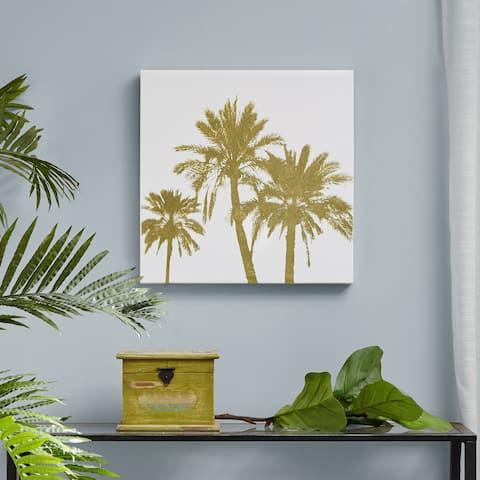 Intelligent Design Gold Palms Gold Foil Embellished Canvas