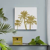 Intelligent Design Gold Palms Gold Foil Embellished Canvas - White