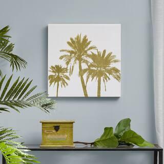Intelligent Design Gold Palms Gold Foil Embellished Canvas - White