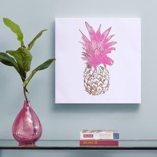 Intelligent Design Gold Pineapple Gold Foil Embellished Canvas