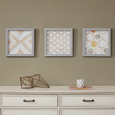 Intelligent Design Sorbet & Grey Framed Gel Coated Paper 3-Piece Set - Orange