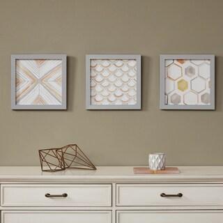Intelligent Design Sorbet & Grey Framed Gel Coated Paper 3-Piece Set - Orange