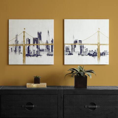 Carbon Loft Bridge and Skyline Metallic Foil Canvas 2-piece Set