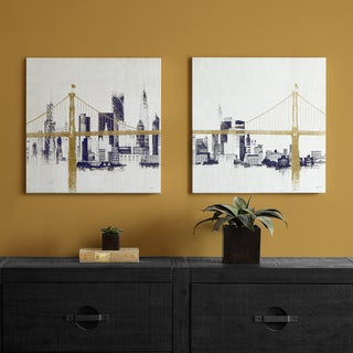 INK+IVY Bridge and Skyline Metallic Foil Canvas 2-piece Set