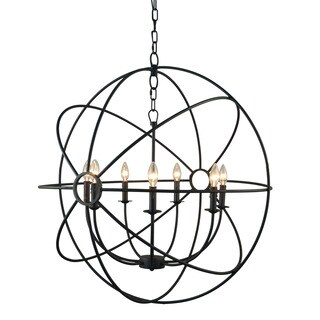 Y-Decor Infinity 7 Light Mini Chandelier in Rustic - rustic black