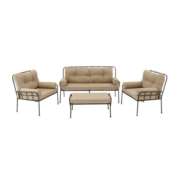 Shop Metal Fabric 4 Piece Outdoor Patio Sofa Set - Free ... on Safavieh Outdoor Living Granton 5 Pc Living Set id=40554