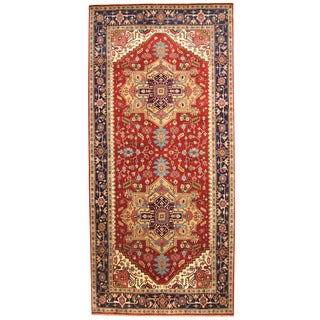 Herat Oriental Indo Hand-knotted Serapi Red/ Navy Wool Runner (8' x 17'6)
