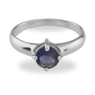 Sterling Silver Iolite Blue Solitaire Ring (2 options available)