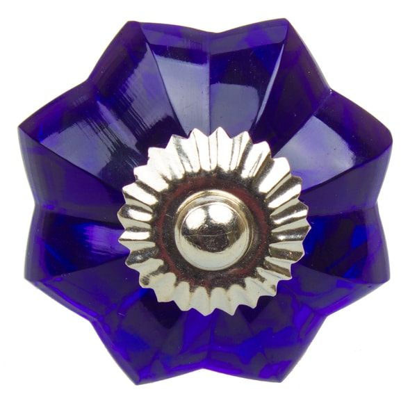 GlideRite 1.75 Inch Vintage Glass Flower Blue Cabinet Knob (Pack Of 10 Or 25