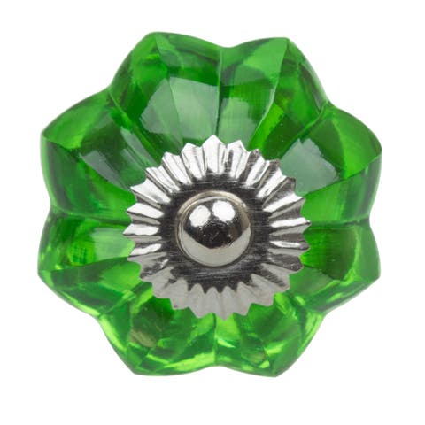 GlideRite 1.75-inch Vintage Glass Flower Green Cabinet Knob (Pack of 10 or 25)