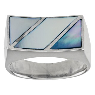 Sterling Silver Blue Mother of Pearl Diagonal Inlay Ring