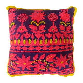 Purple/ Pink/ Yellow Square Rabari Pillows (India)