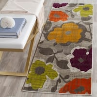 "Safavieh Porcello Contemporary Floral Grey/ Yellow Square) - 6'-7"" x 6'-7"" square"