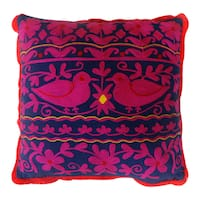 Handmade Green/ Navy/ Purple Square Rabari Pillows (India)