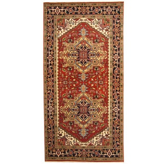 Herat Oriental Indo Hand-knotted Serapi Red/ Black Wool Runner (6'1 x 12')