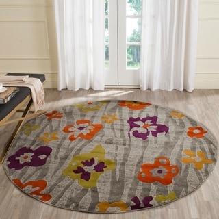 Safavieh Porcello Contemporary Floral Light Grey/ Purple Rug (6'7 Round)