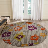 Safavieh Porcello Contemporary Floral Light Grey/ Purple Rug - 6'7 Round