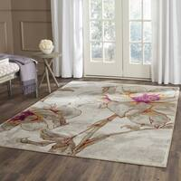 Safavieh Porcello Contemporary Floral Ivory/ Grey Rug (5'1 Square)