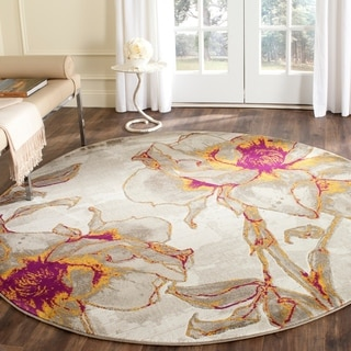 Safavieh Porcello Contemporary Floral Ivory/ Grey Rug (5' 1 Round)