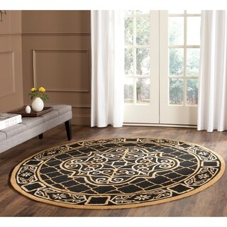 Safavieh Hand-hooked Easy to Care Black/ Gold Rug (6' Round)