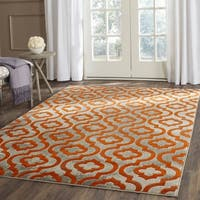 Safavieh Porcello Contemporary Moroccan Light Grey/ Orange Rug - 5'1 square