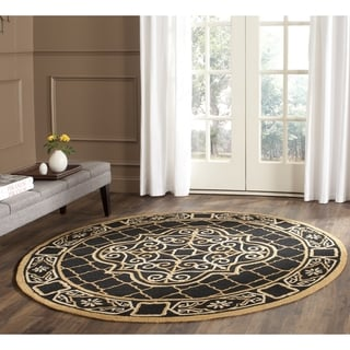 Safavieh Hand-hooked Easy to Care Black/ Gold Rug (8' Round)