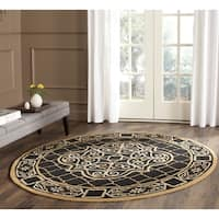 Safavieh Hand-hooked Easy to Care Black/ Gold Rug - 8' Round