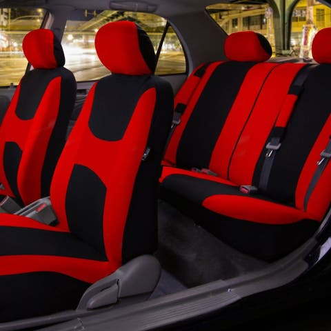 FH Group Red & Black Light & Breezy Fabric Auto Seat Covers (Full Set)