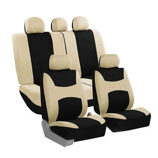 FH Group Beige & Black Light & Breezy Fabric Auto Seat Covers (Full Set)