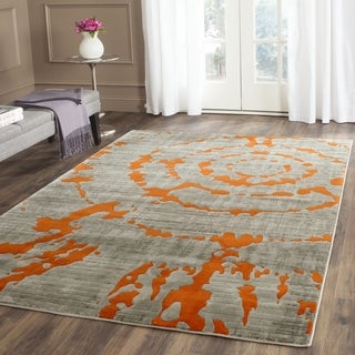 Safavieh Porcello Abstract Contemporary Light Grey/ Orange Rug (5'1 Square)