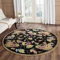 Safavieh Hand-hooked Easy to Care Black/ Multi Rug - 8' X 8' Round