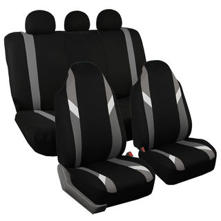 FH Group Modernistic Gray & Black Fabric Auto Seat Covers (Full Set)