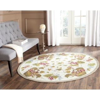 Safavieh Hand-hooked Easy to Care White/ Multi Rug (6' Round)