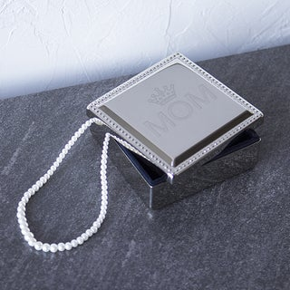 Silver Overlay Mother's Day Square Jewelry Box