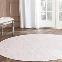 Hand-Woven Safavieh Ivory/ Multi Cotton Rag Rug - 8' x 8' Round