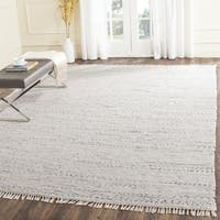 Hand-Woven Safavieh Ivory/ Multi Square Cotton Rag Rug - 8' x 8' Square