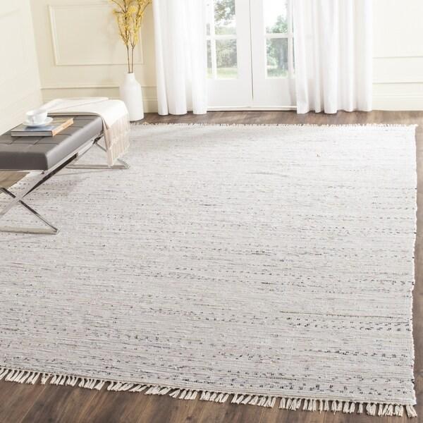 Hand-Woven Safavieh Ivory/ Multi Square Cotton Rag Rug - 8' x 8' Square