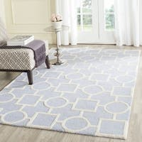 Safavieh Handmade Cambridge Light Blue/ Ivory Wool Rug - 6' x 6' Square
