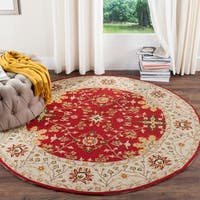 Safavieh Hand-hooked Easy to Care Red/ Ivory Rug - 6' Round