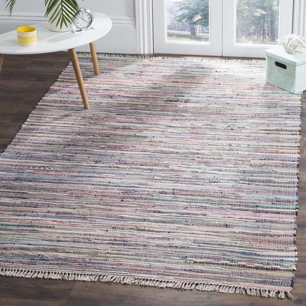 Safavieh Hand-Woven Rag Rug Grey/ Multi Cotton Rug - 4' x 4' Square