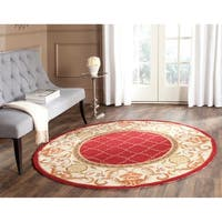 Safavieh Hand-hooked Easy to Care Burgundy/ Ivory Rug (8' Round)