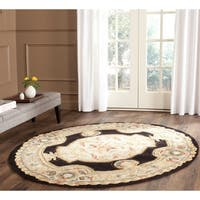 Safavieh Hand-hooked Easy to Care Navy/ Ivory Rug - 6' Round