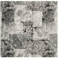 Safavieh Retro Modern Abstract Damask Cream/ Grey Distressed Rug - 6' Square