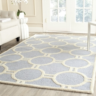 Safavieh Handmade Cambridge Light Blue/ Ivory Wool Rug (6' Square)