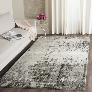 Safavieh Retro Modern Abstract Light Grey / Grey Distressed Rug (6' Square)