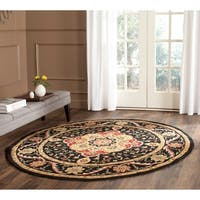 Safavieh Hand-hooked Easy to Care Black/ Cream Rug - 6' Round