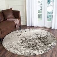 Safavieh Retro Modern Abstract Light Grey / Grey Distressed Rug - 6' x 6' Round