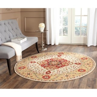 Safavieh Hand-hooked Easy to Care Cream/ Red Rug (6' Round)